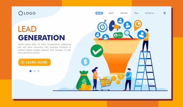 Ilustração do site da página de destino da geração de leads