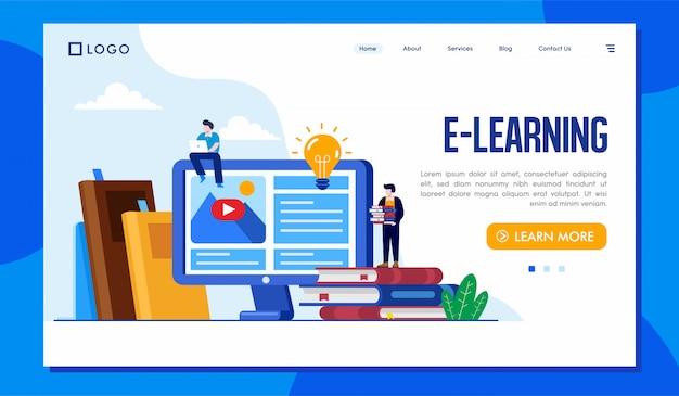 Ilustração do site da página de destino do e-learning Vetor Premium