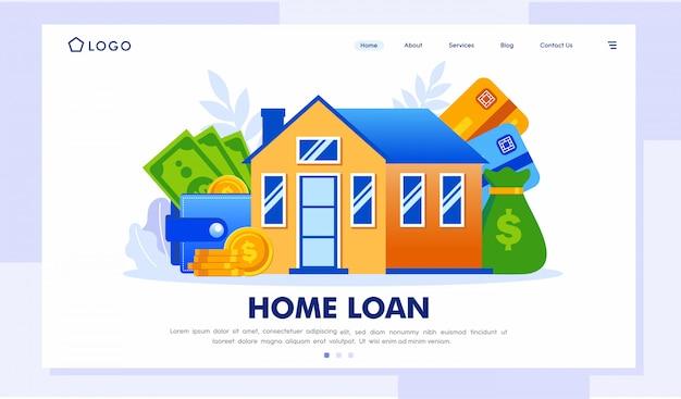 Ilustração do site da página de destino do empréstimo à habitação