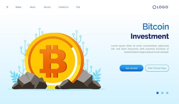 Ilustração do site da página de destino do investimento em bitcoin
