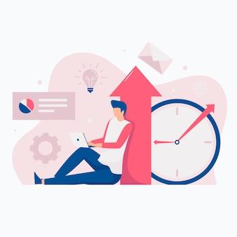 Ilustração do site do conceito de aumento de produtividade