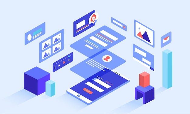 Ilustração do smartphone isométrico com gráficos de mídia social e camadas transparentes que se sobrepõem à tela do celular. janelas pop-up, análises.