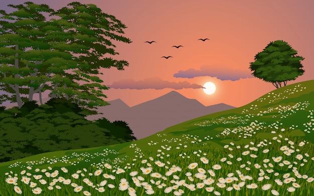 Ilustração do sol bela paisagem