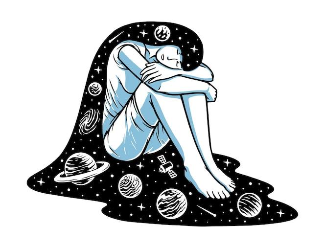 Ilustração do sonho no universo