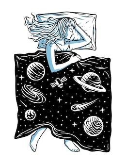 Ilustração do sono no universo