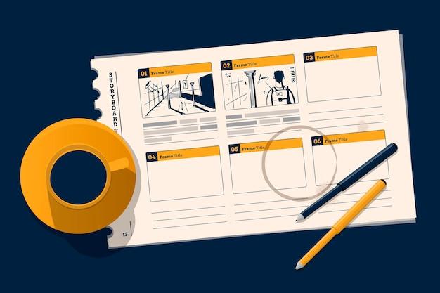 Ilustração do storyboard da vista superior