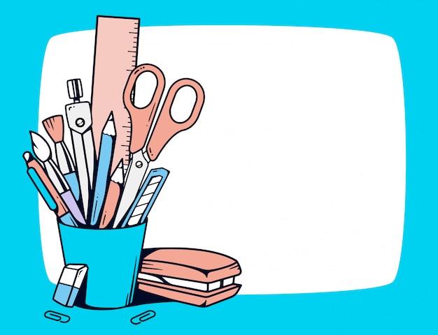 Ilustração do suporte azul com artigos de papelaria em quadro no fundo branco