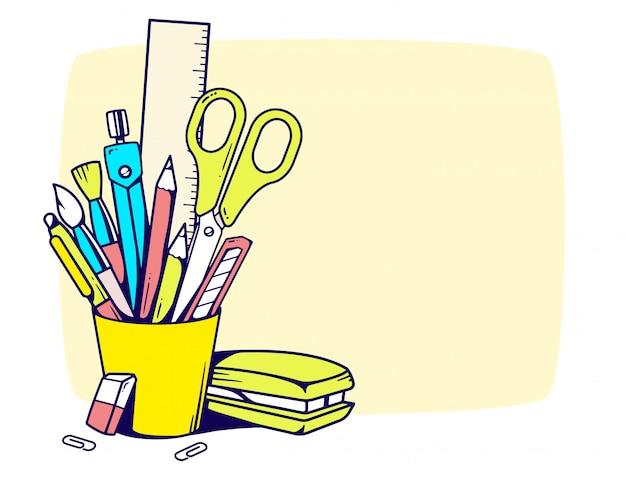 Ilustração do suporte com artigos de papelaria em quadro sobre fundo amarelo.