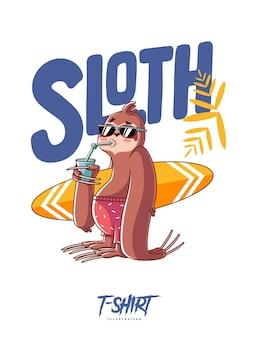 Ilustração do surfista preguiça para o design da camiseta