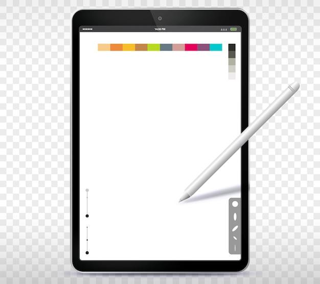 Ilustração do tablet pc e caneta com fundo transparente