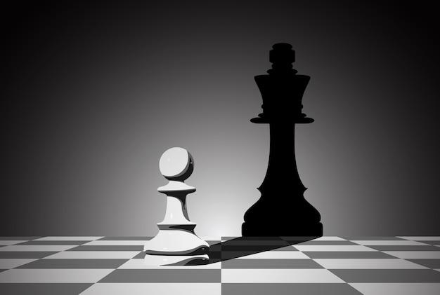 Ilustração do tabuleiro de xadrez. conceito de liderança