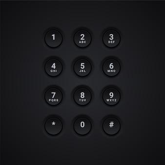 Ilustração do teclado preto do telefone