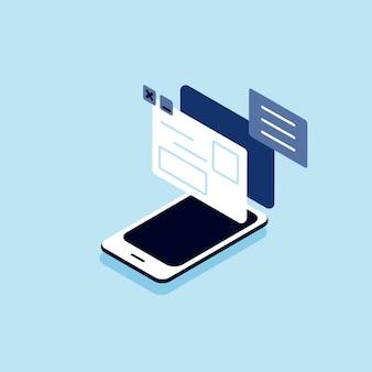 Ilustração do telefone inteligente com o conceito de conexão com a internet e mídias sociais