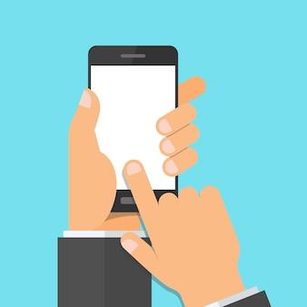 Ilustração do telefone móvel de tela de toque na mão esquerda e apontando com o dedo.