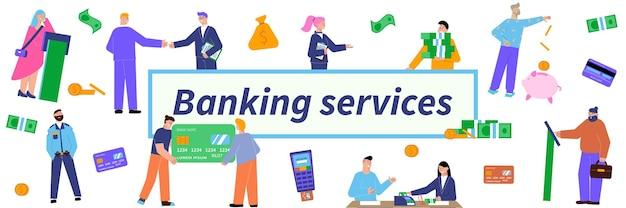 Ilustração do título de serviços bancários