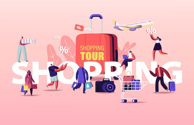 Ilustração do tour de compras. venda sazonal de personagens de compradores.