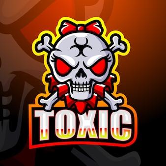 Ilustração do toxic head skull mascote esport