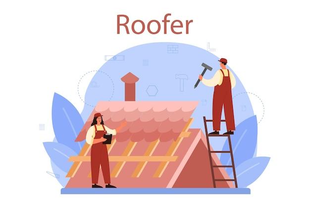 Ilustração do trabalhador da construção de telhado