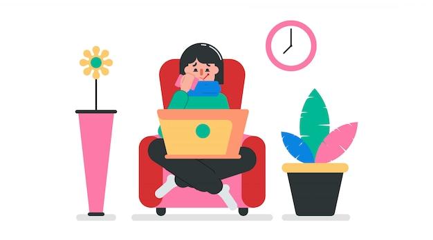 Ilustração do trabalho em casa para evitar uma pandemia de coronavírus