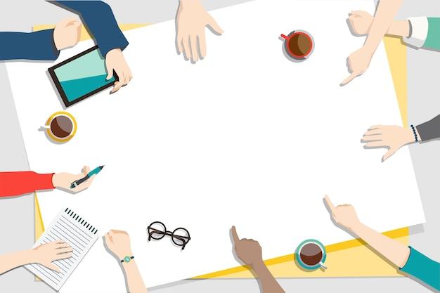 Ilustração do trabalho em equipe de brainstorming
