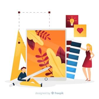 Ilustração do trabalho em equipe de design gráfico