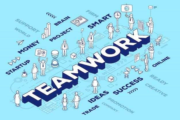 Ilustração do trabalho em equipe palavra tridimensional com pessoas e etiquetas sobre fundo azul com esquema. conceito de trabalho em equipe de negócios.