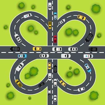 Ilustração do tráfego da estrada