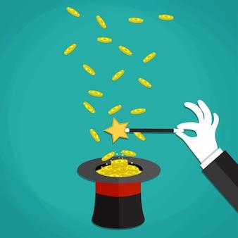 Ilustração do truque de mágica do dinheiro no chapéu