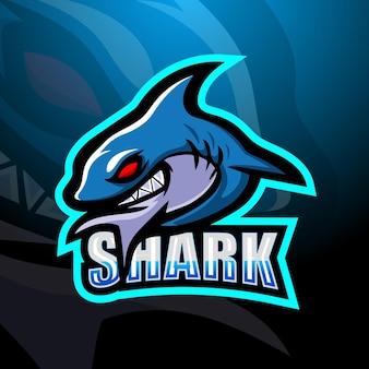 Ilustração do tubarão mascote esport