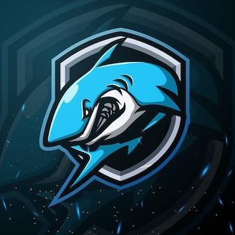 Ilustração do tubarão mascote esport Vetor Premium