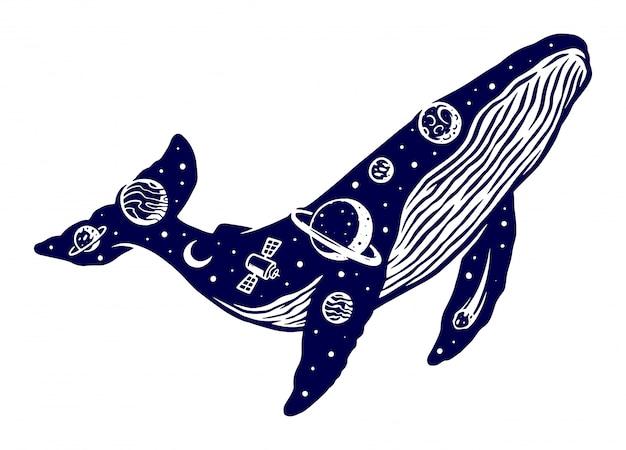 Ilustração do universo de baleia