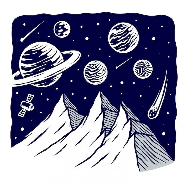 Ilustração do universo de montanha