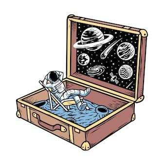 Ilustração do universo em uma mala