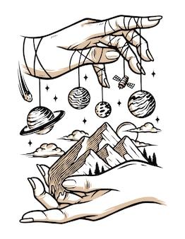 Ilustração do universo na sua mão