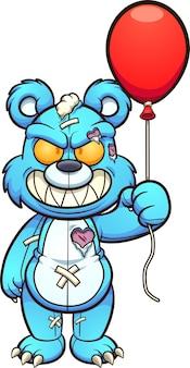 Ilustração do urso de pelúcia azul malvado