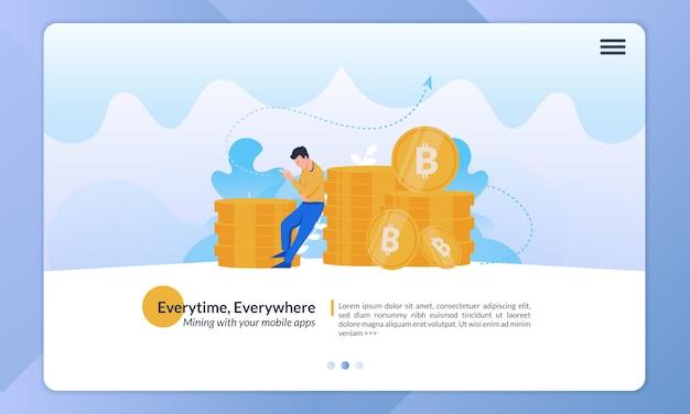 Ilustração do uso de aplicativos de dinheiro digital em qualquer lugar e a qualquer hora