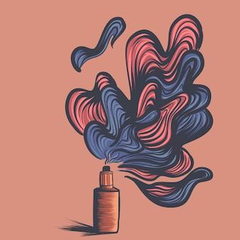 Ilustração do vaporizador, líquido, um automizer