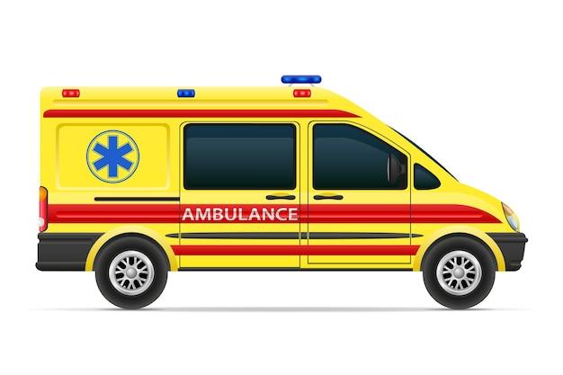 Ilustração do veículo médico do carro da ambulância isolada no fundo branco