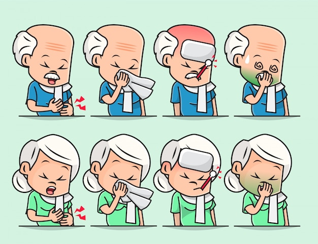 Ilustração do velho vovô e vovó doente, mal-estar, dor de cabeça, resfriado, gripe sazonal, tosse e coriza