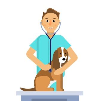 Ilustração do veterinário masculino fazendo um exame de cachorro fofo na mesa médica