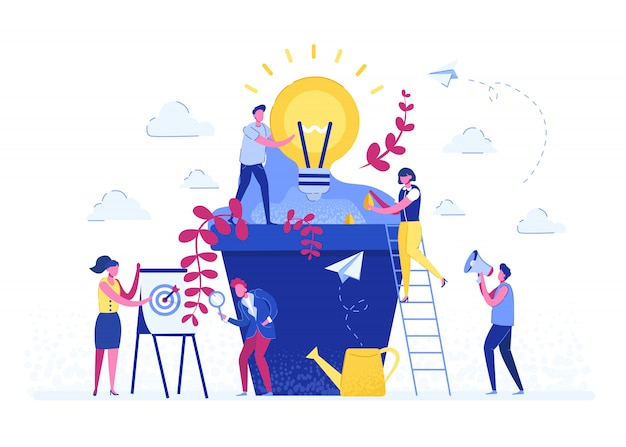 Ilustração do vetor as pessoas plantam vasos de plantas, uma metáfora para o nascimento de uma ideia criativa. análise do conceito de negócio. ideia de design gráfico da atividade de projeto