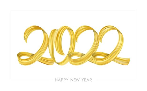Ilustração do vetor: caligrafia de letras de tinta pincelada dourada de 2022 feliz ano novo em fundo branco.