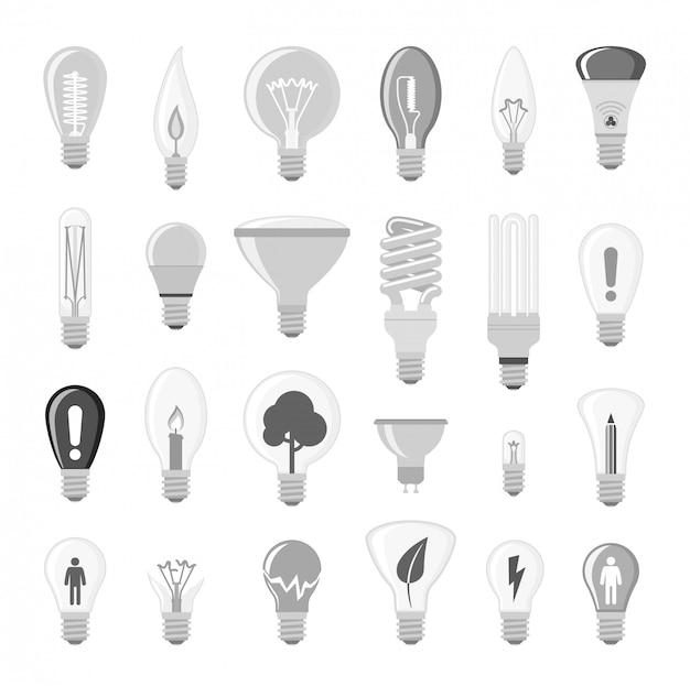 Ilustração do vetor da ampola das lâmpadas dos desenhos animados.