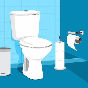 Ilustração do vetor da bacia de toalete. papel higiênico e balde do lixo