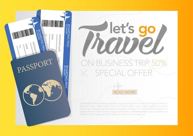 Ilustração do vetor da bandeira do cartaz do dia do turismo do mundo com a hora de viajar banner com passaporte e bilhetes, viagem aérea de negócios.