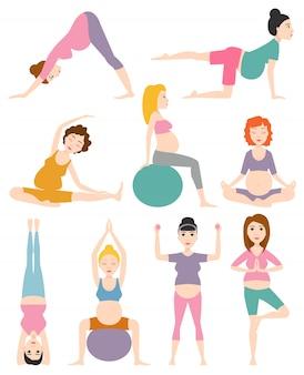 Ilustração do vetor da ioga da mulher gravida.
