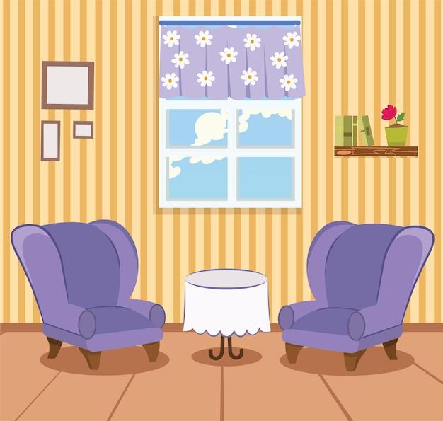Ilustração do vetor da sala de estar dos desenhos animados