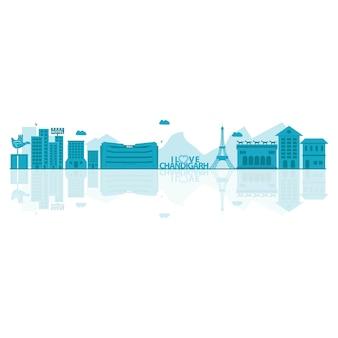 Ilustração do vetor da skyline de chandigarh.