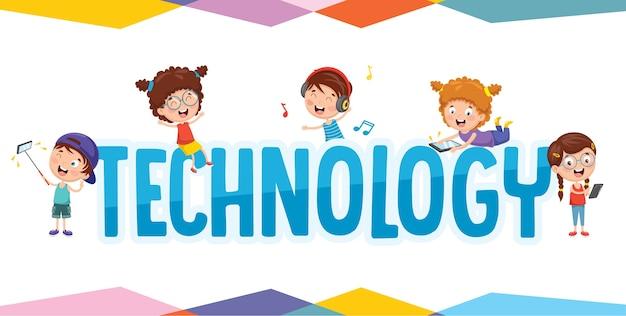 Ilustração do vetor da tecnologia de crianças