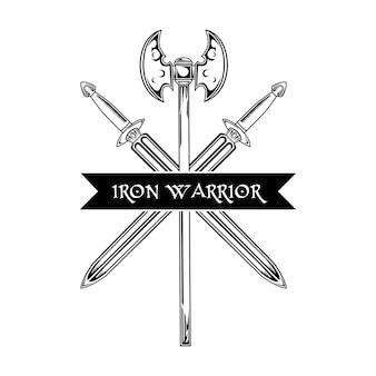 Ilustração do vetor de arma medieval. espadas cruzadas, machado e texto guerreiro de ferro. conceito de guarda e proteção para emblemas ou modelos de emblemas